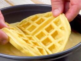 Իդեալական քաղցրավենիքի պարզ բաղադրատոմս, պարզապես վերցնում են վաֆլին և դնում խմորի մեջ
